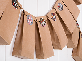 brown bags on a line