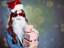 woman dressed up as santa holding presents