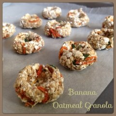 Banana Oatmeal Granola: Keep your rabbit hopping around with these delicious small animal treats.